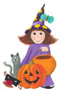 Little Halloween witch Royalty Free Stock Images