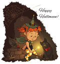 Little halloween witch learning to fly on a broom holiday greeting cartoon background Royalty Free Stock Photos