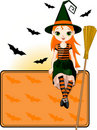 Little Halloween Witch place card Stock Photos