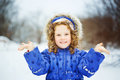 Little happy girl hand up and smiling Royalty Free Stock Photo
