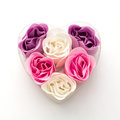 Little heart made of fabric flowers symbol love Stock Photo