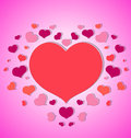 Little hearts around a big red heart pink background