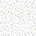 Little hearts lost in the rain on white romantic lovely seasonal abstract seamless pattern background Stock Photo