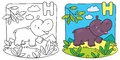 Little hippo coloring book. Alphabet H Royalty Free Stock Photo