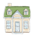 Little home tiny house cottage vintage hand drawn vector art il