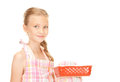 Little housewife bright picture of cooking girl over white Stock Images