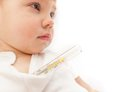 Little ill kid with mercurial thermometer Royalty Free Stock Photo