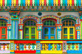 Little india singapore colorful facade of building in Stock Image