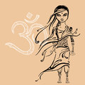 Little indian girl hand drawn illustration beautiful vector Stock Image