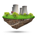 Little island with nuclear power plant Royalty Free Stock Images