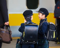 Little japanese student waited for a train to school tokyo japan november in tokyo japan on november unidentified students wait Royalty Free Stock Photo