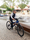 Little jewish boy on bycicle Royalty Free Stock Images