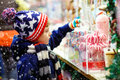Little kid boy with candy cane stand on Christmas market Royalty Free Stock Photo