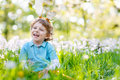 Little kid boy with Easter bunny ears, outdoors Royalty Free Stock Photo