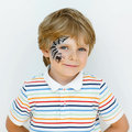 Little Kid Boy With Face Paint...