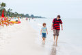 Little kid boy and father having fun with collecting shells Royalty Free Stock Photo