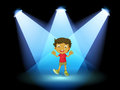 A little kid at the center of the stage illustration Royalty Free Stock Photography