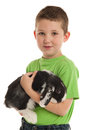 A little kid is holding his domestic lop eared rabbit in his arms Royalty Free Stock Images