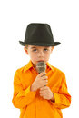 Little kid singing Stock Photo