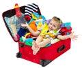 Malý dieťa v cestovný kufor plný dovolenka