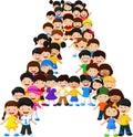 Little kids form alphabet A