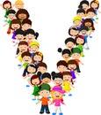 Little kids form alphabet V Royalty Free Stock Photo
