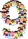 Little kids form number nine Royalty Free Stock Photo