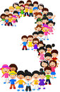 Little kids form number three Royalty Free Stock Photo