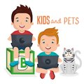 Little kids with pets characters