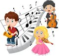 Little kids playing music with piano tone background Royalty Free Stock Photo