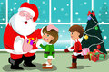 Little kids with santa claus a vector illustration of cute Royalty Free Stock Images