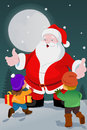 Little kids with santa claus a vector illustration of cute Stock Photos
