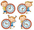 Little kids telling time set Royalty Free Stock Photo