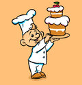 Little kind cook cake illustration cartoon Royalty Free Stock Image