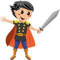 Little knight fighting illustration featuring a charming with orange cloak holding a sword ready to fight isolated on white Royalty Free Stock Photo