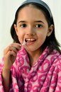 Little Latin Girl Flossing Royalty Free Stock Photography