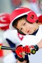 Little league baseball batter up-close Royalty Free Stock Photo