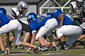 Little League Football, Close Up Line of Scrimmage Royalty Free Stock Images