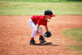 Little league short stop in ready position Royalty Free Stock Photo