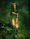 Little light in the deep forest a fairy with a lantern her hand Stock Photography
