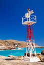 Little lighthouse in the port of hora sfakion crete greece Stock Photo