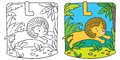 Little lion coloring book. Alphabet L