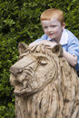 Little lion tamer Stock Images