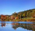 Little long pond in the colors of autumn mount desert island acadia national park maine usa Royalty Free Stock Image