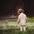 Little lost girl photo from back outdoors Stock Photography