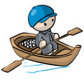 Little Man in Rowboat Royalty Free Stock Photography