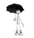 The little man with an umbrella d white in rain Royalty Free Stock Photography