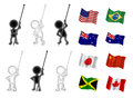 Little men figures holding flags are seperated from so that any flag can be added to any figure Stock Image