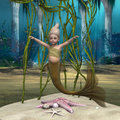 Little mermaid d digital render of alittle cute baby on blue fantasy ocean background Stock Image