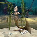 Little mermaid d digital render of a cute baby on blue fantasy ocean background Royalty Free Stock Photo